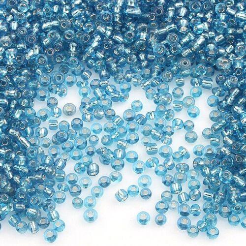 Rocailles perlas 2mm Aquamarine azul plata sangría 450g joyas Seed beads a11