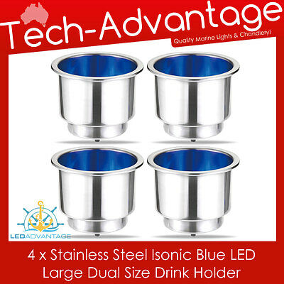 2 X STAINLESS STEEL BLUE LED ILLUMINATED NIGHT BOAT WINE BOTTLE//CUP//DRINK HOLDER