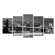 Framed Canvas Art Print Photo Wall Home Decor Poster New York Bridge Cityscape