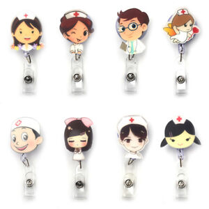 ID Name Card Exhibition Retractable Clip Badge Holder Nurse Doctors ... 5e0eb06b29