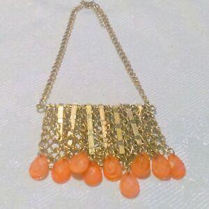 Gold-Tone-Orange-Beaded-Fringe-Necklace