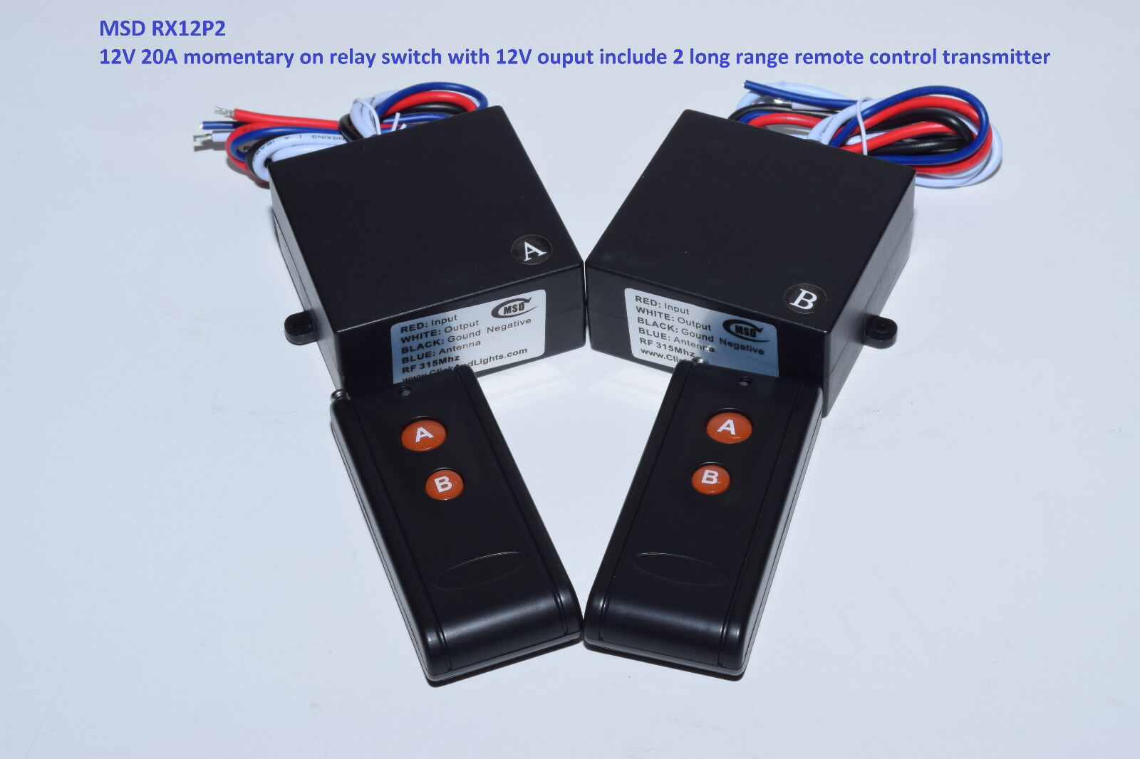 MSD-INC 12V 30A 2CH MOMENTARY switch with 2 long range remote control RX12P2