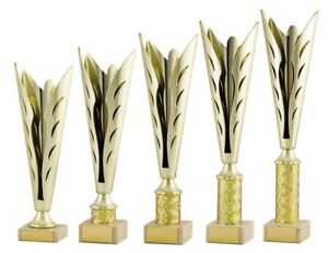 Gold and Black Modern Star Cups Achievement Trophies 6 sizes FREE Engraving