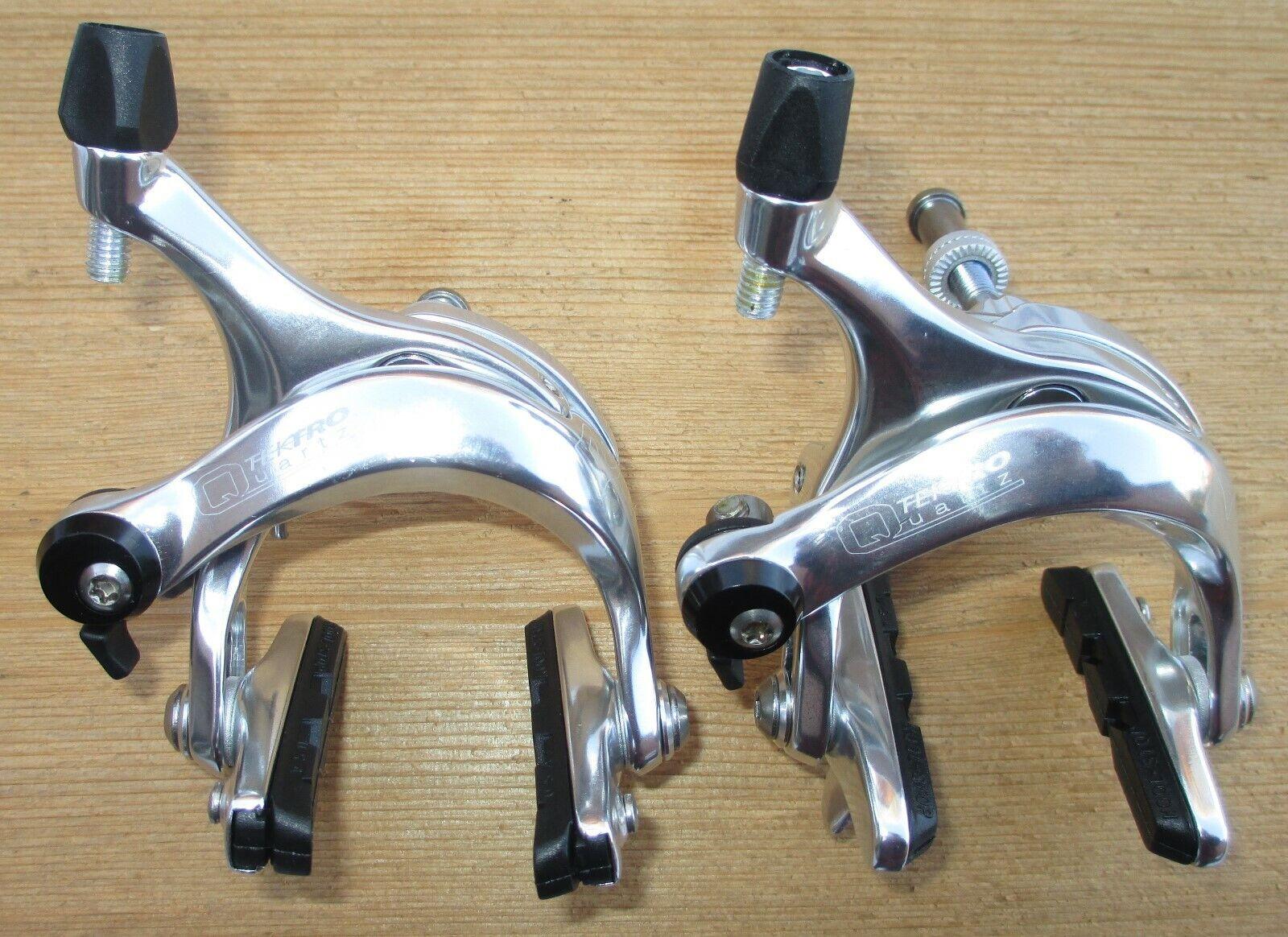 Remset Tektro Quarts R740 Road Bike Caliper Rem Polished Alloy Pair Nieuw