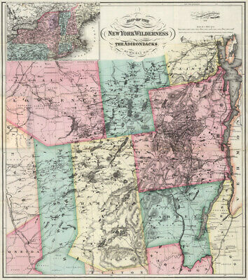 Map of New York Wilderness Adirondacks c1879 24x27