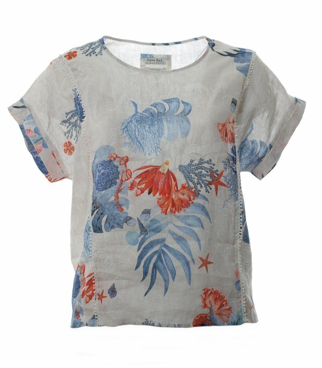 OverGröße kurzarm Leinen-Shirt Damen Top in Beige Blau große Größen