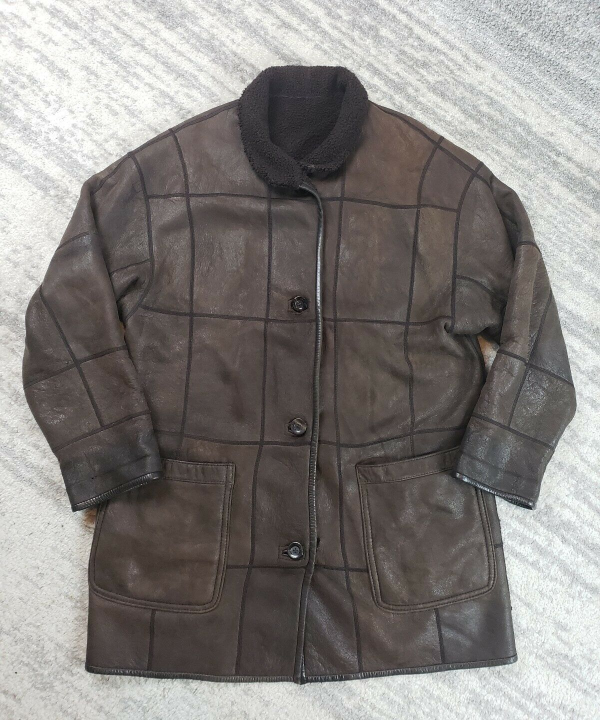 WOMEN S Brown Soft Leather Long Sherpa Coat  from CHRIST Size Large XL