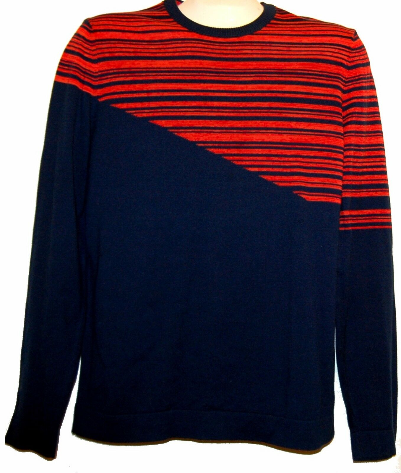 Hugo Boss  bluee Red  Striped Long Sleeve Men's Sweater Size M