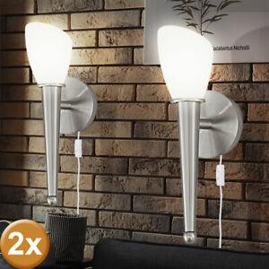 2er Set LED Wand Strahler Arbeits Zimmer ALU Glas Leuchten Flur Schalter Lampen