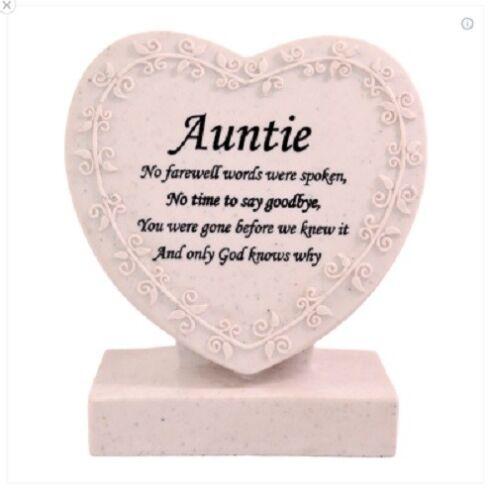 Cremation Marker Plaque Funeral Grave Stone Grave Heart Memorials Auntie