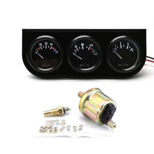 2'' 52mm 3in1 Car Volt Meter Oil Temp Gauge Oil Pressure Gauge Triple Meter Kit