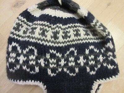 Nepalmütze Nepal Mütze Wollmütze Norwegermütze Gefleeced Dunkel üPpiges Design