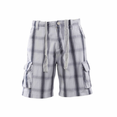 MENS BRAND NEW CARGO SHORTS TWILL CHECK IN NAVY YELLOW WHITE COLOURS S-L