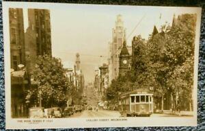 1930-039-s-real-photo-Postcard-street-View-Collins-street-Melbourne-city-amp-Kew-Tram