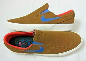 Nike-Mens-SB-Zoom-Air-Janoski-Slip-on-RM-Shoes-British-Tan-Pacific-Blue-Size-9