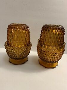 Fairy-Lamps-Indiana-Amber-Glass-Diamond-Point-Set-Of-2-Lamps-Vintage-5-4-Tall