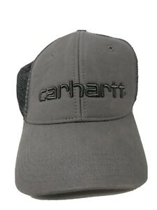 Carhartt-Dunmore-Embroidered-Gray-Hat-Snapback-Adjustable-Mesh-Cap-All-Cotton-EC