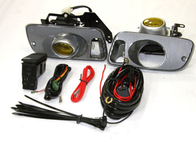 92-95 Honda Civic EG EJ SI EX DX LX HX 2/3 Door JDM Yellow Fog Light Kit+Harness