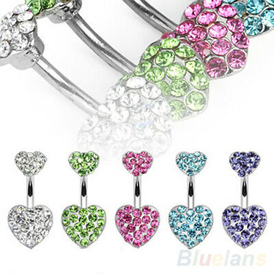 New Arrival Surgical Stainless Steel Pave Crystal Heart Navel Ring Fashion B8AU