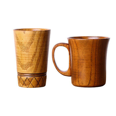 2 x Wooden Pure Handmade Craft Coffee Tea Mugs Drinking Cups For Home Office
