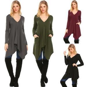 Women-V-Neck-Long-Sleeve-Irregular-Hem-Draped-Casual-Loose-Shirt-Tunic-hfor