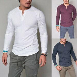 HOT Men Slim Fit O-Neck Button Long Sleeve Muscle Tee T-shirt Comfy ... 1a2045322417