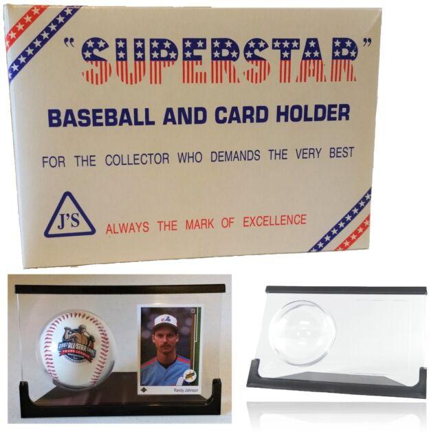 Superstar Crystal Acrylic Baseball and Card Holder Display Case Black Frame BN29
