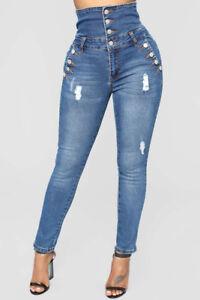 17148889d Image is loading Pantalones-Jeans-De-Tiro-Alto-Para-Mujer-Rasgados-
