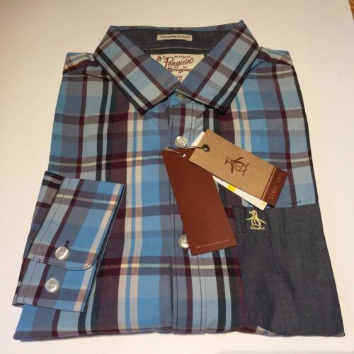 Original Penguin Blue Check Shirt Contrast Pocket Size M Heritage Slim Fit New