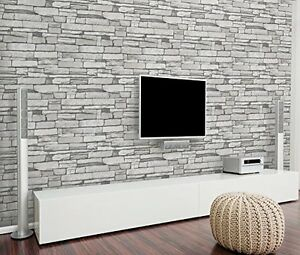 Image Is Loading Grey Stone Brick Wall Pattern Wallpaper Vinyl Contact