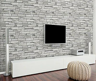 Grey Stone Brick Wall Pattern Wallpaper Vinyl Contact Paper Peel Stick Ebay