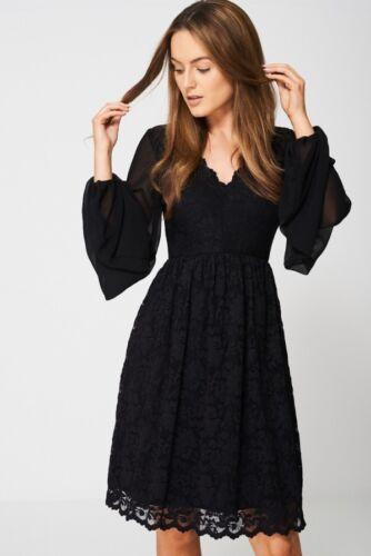 Le donne formale nero Laced Midi a Pieghe Scollo A V Bell Manica deviato polsino Mesh Dress