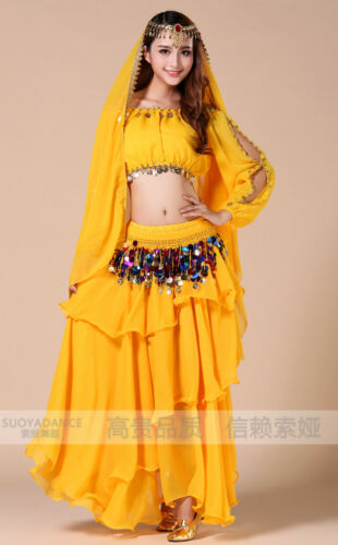 Bollywood Flamenco Tribal Spiral Skirt /& Outfit Set Bra Top Belly Dance Costume