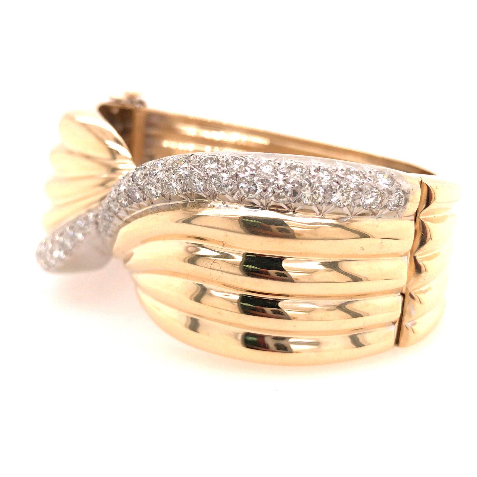 14K Wide Diamond Twist Cuff Two-Tone Gold - image 2