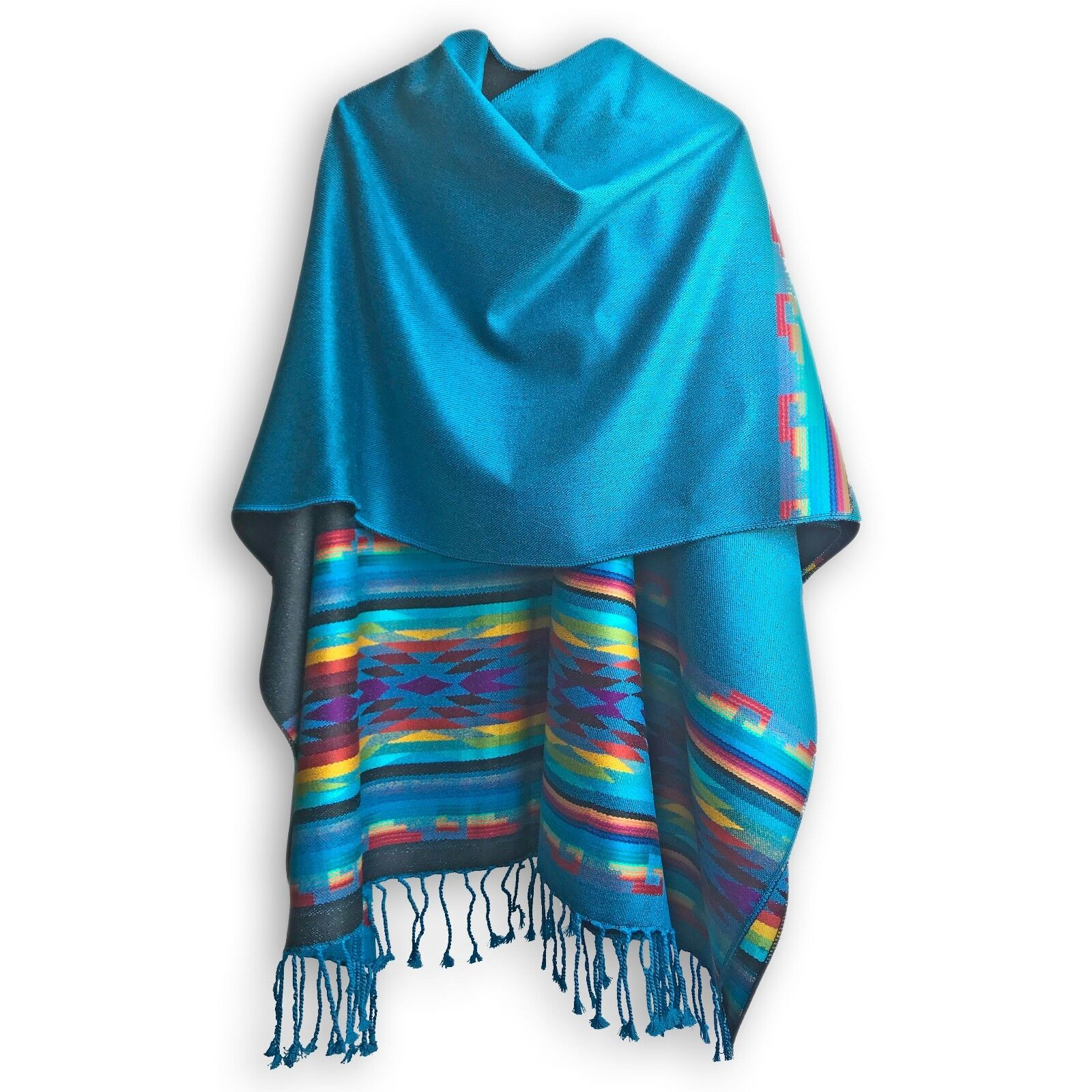 HIGH QUALITY ALPACA WOOL PONCHO WRAP blueE TURQUOISE HANDMADE IN ECUADOR