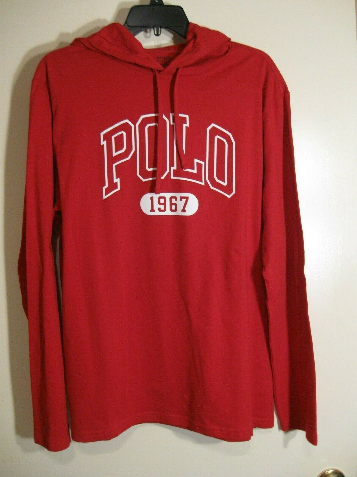 Polo Ralph Lauren Long Sleeve Hooded Tshirt NWT L Red 100% Cotton