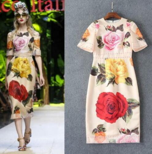 Womens Floral Round Neck Frilly Short Sleeves Dress Slim Fit Party Gown NEW C437