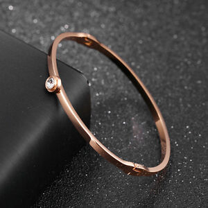 Smooth-Single-CZ-Silver-Yellow-Rose-Gold-GP-Stainless-Steel-Bangle-Bracelet-Gift