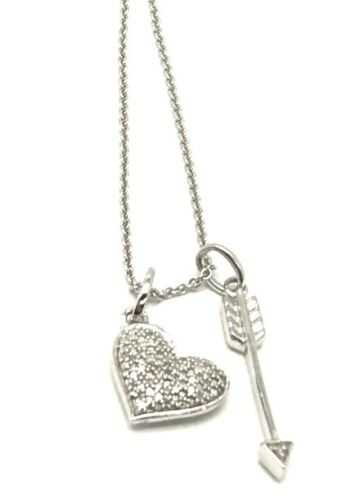 Sterling Silver Diamond Cluster Love Heart Shooting Arrow Dangle Charm Necklace