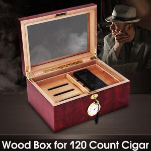 120-Cigars-Wood-Box-Cedar-Lined-Cigar-Storage-Case-Humidor-Humidifier