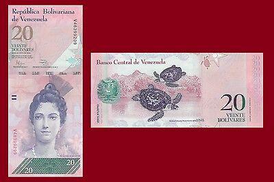 20 Bolivar Venezuela P91 Luisa Arismendi //Hawksbill sea turtle 2014 UNC $6CV