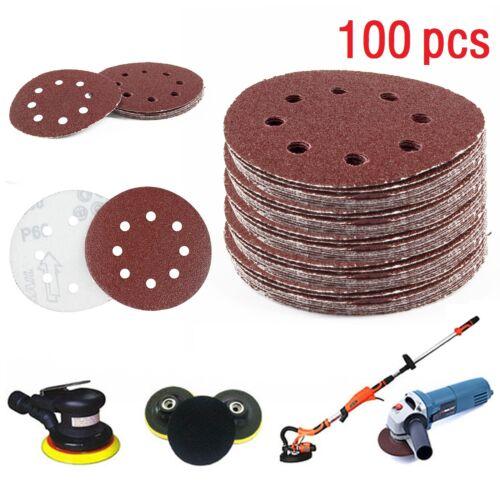 "5/"" Sanding Discs 40 60 80 120 240 Mixed Grit Orbital Sander Pads 100pcs 125mm"