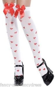 4e19c6c4e Ladies Sexy White Red Queen of Hearts Print Bow Fancy Dress ...