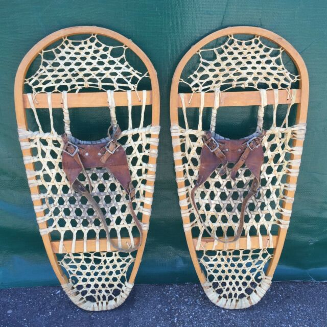 Vintage Iverson Bear Paw Snowshoes 14x35 With Binding