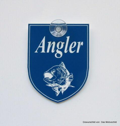 Angler,Angeln,Schild für die Windschutzscheibe,Mit Sauger,9 x 7 cm,Gravurschild