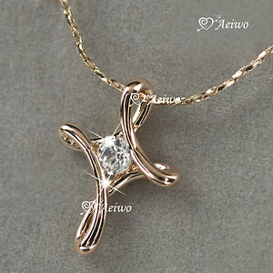 18K-ROSE-GOLD-GF-MADE-WITH-SWAROVSKI-CRYSTAL-CROSS-PENDANT-NECKLACE