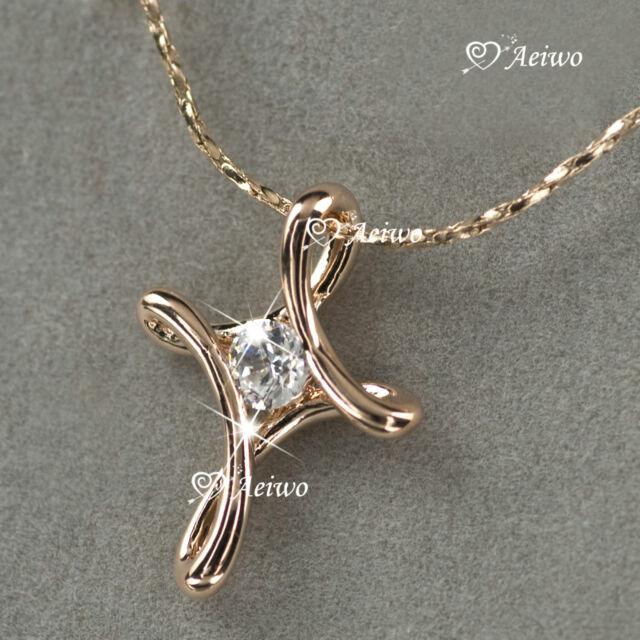 18k rose gold gf made with swarovski crystal cross pendant necklace 18k rose gold gf made with swarovski crystal cross pendant necklace aloadofball Choice Image