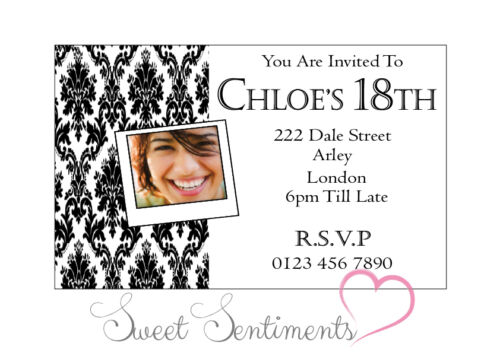 21//18//16 etc  Pk of 10 Personalised Glossy Birthday Invitation Your Photo s3