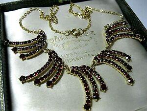 Vintage-Jewellery-Art-Deco-Austrian-Gold-on-Silver-Garnet-Gem-Stone-NECKLACE