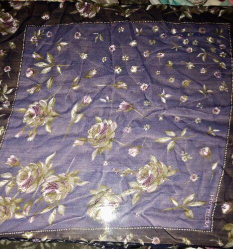 "Vintage HALSTON 100% Silk Chiffon Scarf 19"" Square"